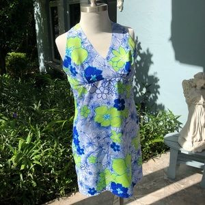 Dresses & Skirts - Blue Floral Midi Sleeveless Summer Dress.  Size L